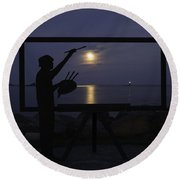 Metal Sculpture Of Painter Round Beach Towel
