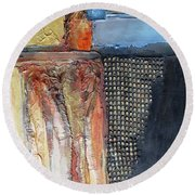 Metallic Fall With Blue Round Beach Towel