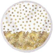 Metallic Gold Floral Flower Swirls Trendy Unique Art By Madart Round Beach Towel