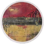 Metallic Square Series I - Red And Gold Urban Abstract Painting Round Beach Towel