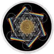 Metatron's Rainbow Healing Vortex Round Beach Towel