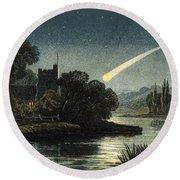 Meteor In Night Sky, 1868 Round Beach Towel
