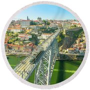 Metro Train Over Porto Bridge Round Beach Towel