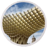 Metropol Parasol At The Plaza Of The Incarnation In Seville Spai Round Beach Towel