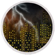 Metropolis At Stormy Night Round Beach Towel