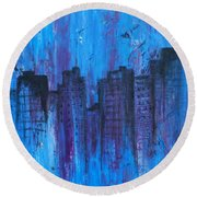 Metropolis In Blue Round Beach Towel