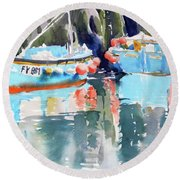 Mevagissey Harbour Round Beach Towel