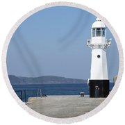 Mevagissey Lighthouse Round Beach Towel