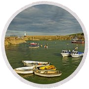 Mevagissey Outer Harbour Round Beach Towel