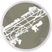 Mex Benito Juarez International Airport Silhouette In Gray Round Beach Towel