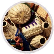 Mexican Baskets Round Beach Towel