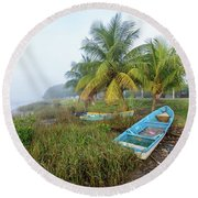 Mexican Boat In The Fog Round Beach Towel