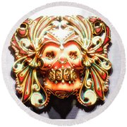 Mexican Day Of The Dead Mask Round Beach Towel
