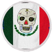 Mexican Flag Of The Dead Round Beach Towel