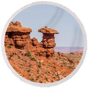 Mexican Hat Rock Monument Landscape On Sunny Day Round Beach Towel