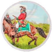 Mexican Horse Soldiers Round Beach Towel