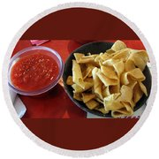 Mexican Inn Chips And Salsa Round Beach Towel