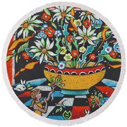 Mexican Vase With Spring Flowers Round Beach Towel