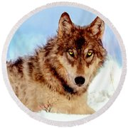 Mexican Wolf Painting Round Beach Towel
