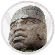 Mexico: Olmec Head Round Beach Towel