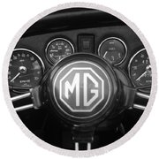 Mg Midget Dashboard Round Beach Towel