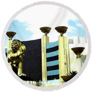 Mgm Lion In Las Vegas Round Beach Towel
