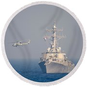Mh-60r Sea Hawk Helicopter Flies Round Beach Towel