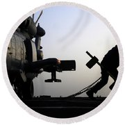 Mh-60r Sea Hawk Helicopter Is Ready For Duty Round Beach Towel