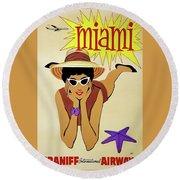 Miami Travel By Braniff Airways  1960 Round Beach Towel