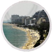 Miami Beach Fla Round Beach Towel