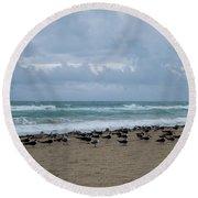 Miami Beach Flock Of Birds Round Beach Towel