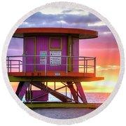 Miami Beach Round Life Guard House Sunrise Round Beach Towel