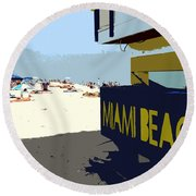 Miami Beach Work Number 1 Round Beach Towel
