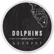 Miami Dolphins Art - Nfl Football Wall Print Round Beach Towel by Damon Gray