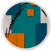 Miami Dolphins Football Art Round Beach Towel