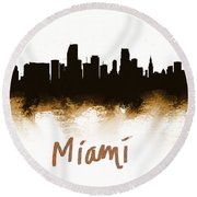 Miami Fla 2 Skyline Round Beach Towel