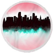 Miami Fla Skyline Round Beach Towel