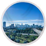 Miami Florida City Skyline And Streets Round Beach Towel
