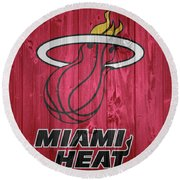 Miami Heat Barn Door Round Beach Towel