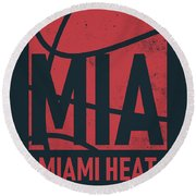 Miami Heat City Poster Art Round Beach Towel