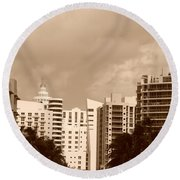 Miami  Sepia Sky Round Beach Towel