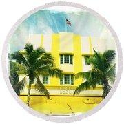 Miami South Beach Ocean Drive 2 Round Beach Towel