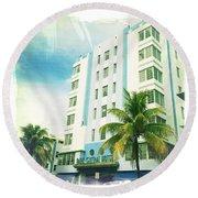 Miami South Beach Ocean Drive 4 Round Beach Towel