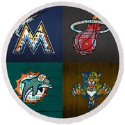 Miami Sports Fan Recycled Vintage Florida License Plate Art Marlins Heat Dolphins Panthers Round Beach Towel