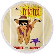 Miami Travel Poster Round Beach Towel