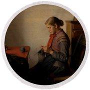 Michael Ancher - Skagen Girl, Maren Sofie, Knitting. Round Beach Towel