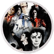 Michael Jackson - King Of Pop Round Beach Towel by Lin Petershagen