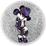 Michael Jackson-mickey Mouse Round Beach Towel