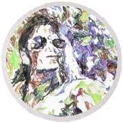 Michael Jackson Watercolor Round Beach Towel