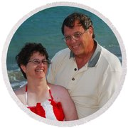 Michael  Peychich And His Sweetheart Round Beach Towel
